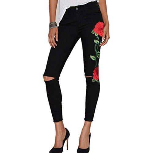 Jeans Hosen Damen Skinny Zerrissen High Waist Mit Löchern Rissen Blumenstickerei (S, Schwarz B) (Jeans Hose Rose)