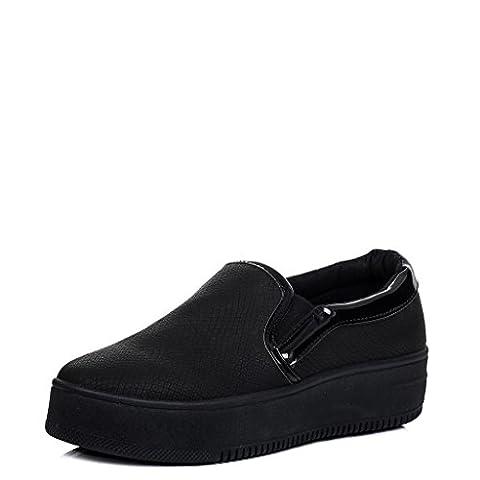 Platform Croc Print Flat Loafer Shoes Black Black Leather Style Sz 6