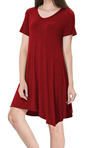 Leger Kurzarm lose T-Shirt Kleid für Damen Red