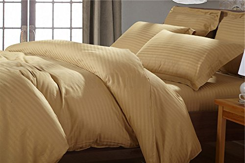 Fresh From Loom Platinum Superior Elegant 300 TC Cotton Double Bedsheet with 2 Pillow Covers - Striped, Light Brown