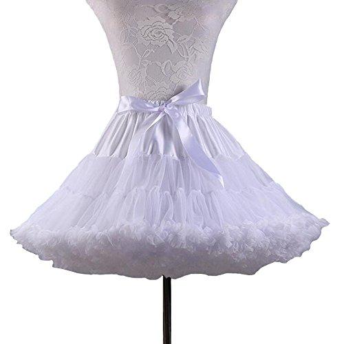SANSEIJH Damen Erwachsene Schleife Netz Petticoat Tutu Rock, Wedding Zubehör (12 (Weiße Erwachsene Für Tutus)