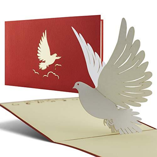 Karte zur Taufe, Konfirmation, Kommunion, Glückwunsch zur Taufe, Taufkarte für Junge oder Mädchen mit Taube 3D Pop Up Karte C04 (Taufe Karten)
