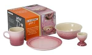 Le Creuset Junior Children's Breakfast Essentials Set includes 200 ml Mug/ 18 cm Plate/ Egg Cup/ 0.5 Litre Cereal Bowl, Pink