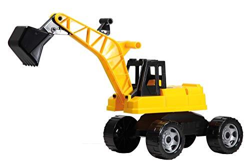 Lena 02047 - Starke Riesen Bagger, Baufahrzeug ca. 70cm, Giga Truck Schaufelbagger mit 2 Stahlachsen, großer Spielzeugbagger in gelb und schwarz, Baggerfahrzeug für Kinder ab 3 Jahre -