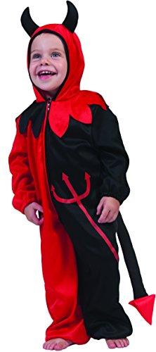 erdbeerclown- Kinder Kleinkind Teufel Kostüm - Jumpsuit Einteiler mit Kapuze- Outdoor geeignet, Mehrfarbig