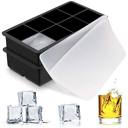 TOPELEK Eiswürfelformen Zwei Eismaschinenformen, Weich Silikagele Eiswürfelform, abnehmbare Abdeckung FDA-Zertifiziert, lebensmittelechtes Material Geschirrspüler Sicherheit.
