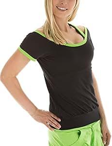 Winshape Damen Cut-Out-Shirt  Freizeit Sport Fitness Dance, Schwarz/Apfelgrün, XS, WTR5