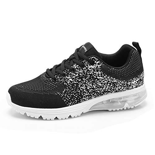 Goalsse Moda Uomo Scarpe Sportive All'aperto Cuscino D'aria Scarpe da Corsa Sneakers Fly Knitting Mesh Casual Running Fitness Sneakers Traspiranti (39 EU, Nero)