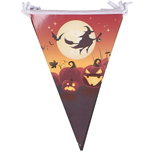 Mackur Halloween Dreieck Flaggen Bunting Banner Dekoration für Indoor Outdoor Halloween Party 1 Stück (#9)
