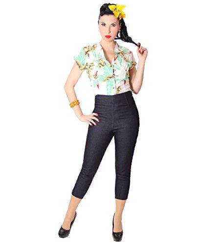 SugarShock Ammy Denim High Waist Caprihose Jeans, Größe:XL, Farbe:dunkelblau