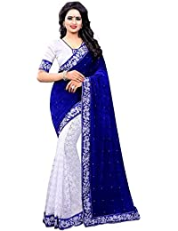 Fashion Duds Women's Semi-Stitched Velvet & Net Embroidery Saree (Blue Velvet Sari_Blue_Free Size)