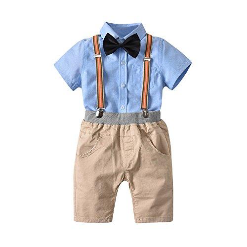 JUTOO 2 stücke Kleinkind Baby Jungen Sommer Gentleman Bowtie Kurzarm Hemd + Sling Shorts Sets (Blau,100)