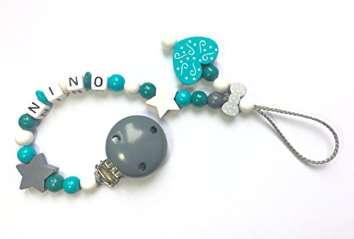 Attache sucette personnalisee GRIS & TURQUOISE