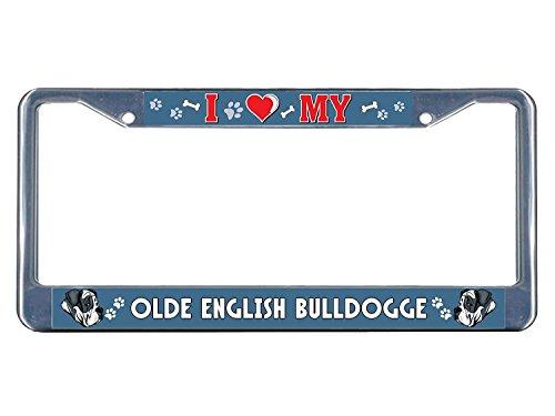 Teisyouhu Olde English Bulldogge Hund I Heart Studie Metall Chrom Nummernschild Rahmen Tag Halter