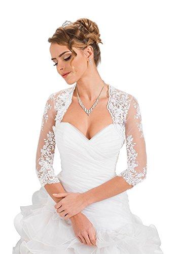 Mingxuerong Damen Hochzeit Top Spitzen-Jacke für die Braut Spitzen Bolero (48, Weiße)