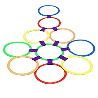 Generic Large Size 10 Ringe & 10Ring Clips Twister Hopscotch Multi-Farbe Aktiv Spielen