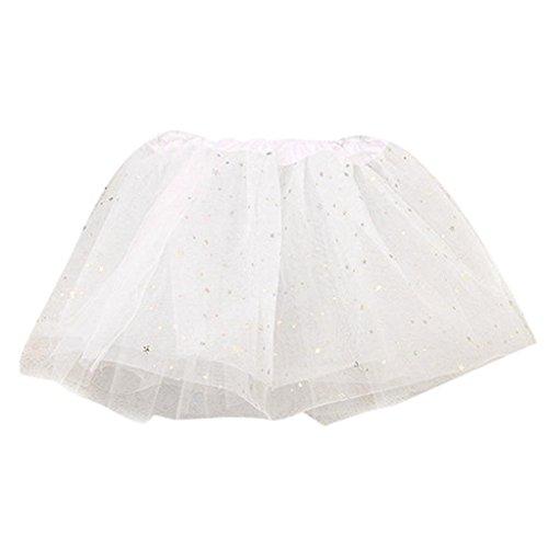 Baby Kleid Sterne Pailletten Partei Tanzen Ballett Rock Kleid (White )