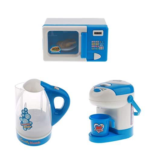 F Fityle Kinderküchen Spielzeug Set mit Mikrowelle Wasserspender und Wasserkocher, Blau