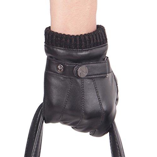 Nappaglo ® Männer PU Lederhandschuhe Touchscreen - Handschuhe Mit Langen Fleecefutter Winter Fahren