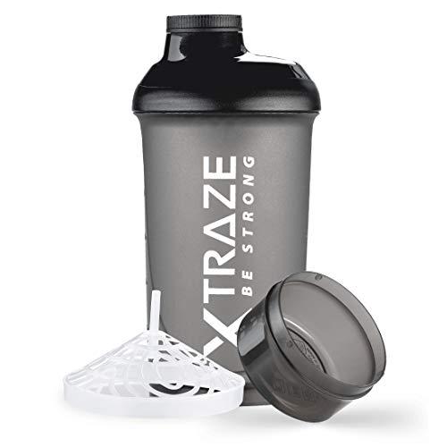 XTRAZE® Protein Shaker 500 ml mit Pulverfach 150 ml - BPA frei - Fitness Becher auslaufsicher mit Skala - Sieb für cremige klumpenfreie Eiweiß Shakes - schwarz
