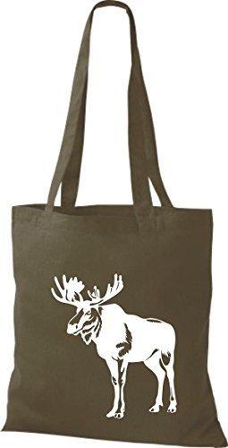 shirtstown Borsa di stoffa animale alce, elk, Karibus Oliva