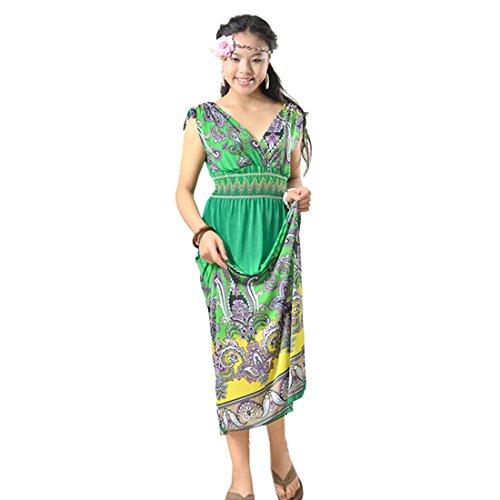 QIYUN.Z Vintage Paisley Gedruckten Frauen aermellose V-Ausschnitt, Strand Boehmisches Langes Kleid Grün