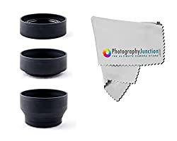 Photography Junction 58mm Collapsible Rubber Lens Hood + Free Premium Micro Fiber Cloth for Canon EF-S 18-55mm, 28-80mm, 55-250mm & 28-90mm EOS 1200D 700D 650D 600D 550D 500D 450D 400D 350D 300D 1100D 100D 60D