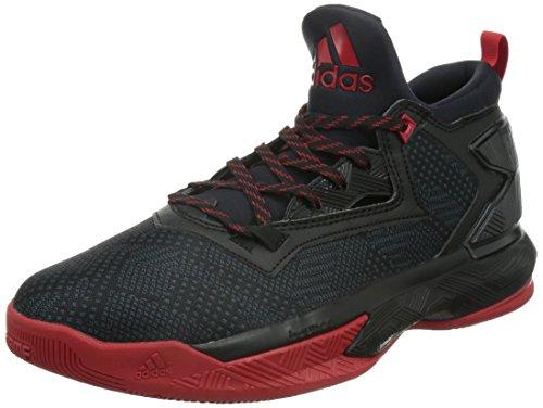 adidas Herren D Lillard 2 Basketballschuhe, Schwarz/Rot Scarlet/Negbas, 47 1/3 EU