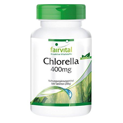 Chlorella 400 mg, 100% reines Chlorella-Algenpulver (Chlorella vulgaris), vegan, 500 Chlorella-Presslinge - reich an Chlorophyll