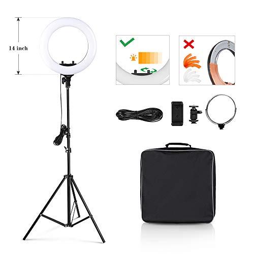 "CRAPHY Ringlicht, 14\"" 48W dimmbare Ringleuchte mit 360 LEDs, 3200k-5500k LED Ringlicht Set mit Zubehörschuh, Lampenstativ und Netzkabel, Bi Color LED Ringleuchte für Selfie, Make-up, Live Streaming, Portraitfotografie, Videoaufnahme"