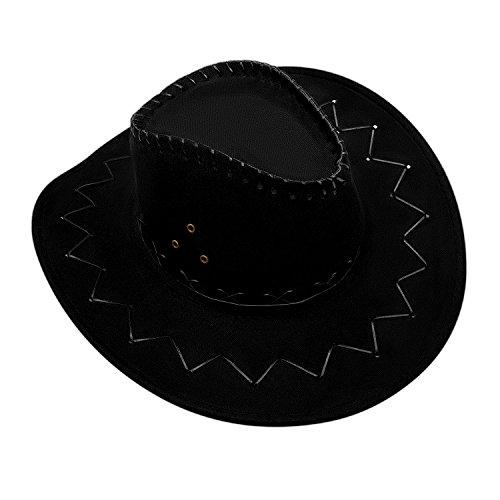 GHONLZIN Cowboy Hut Cowgirl Hüte mit breiter Krempe, Unisex Kappe mit verstellbarem Kinnriemen Outdoor Hut zum Angeln, Wandern, Safari, Reisen, Sommer (Schwarzer Cowboy Hut)