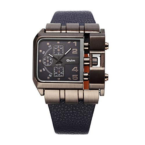 REALIKE Herren Digitale Armbanduhr,Leder Armband Classic Outdoor Laufen wasserdichte Uhren, Cool Sport große Anzeige Sportuhr mit LED für Männer Erwachsene Smart Watch