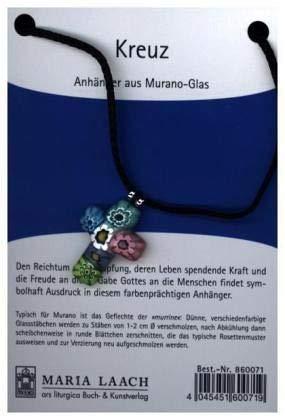 Kreuzanhänger aus Muranoglas, mehrfarbig