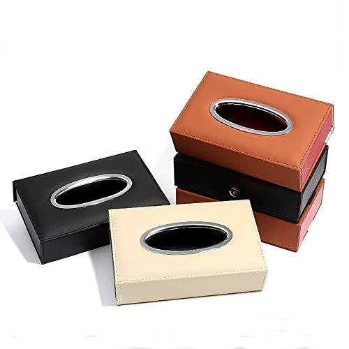 FELICIPP Elektroplatte Leder Auto Visier Tissue Holder Mount, Mehrzweck-Papierhandtuch Slim Cover Case, Seat Back Tissue Holder Case (Farbe : Beige, Size : 20 * 12.5 * 5.5cm) - Mount Back Box