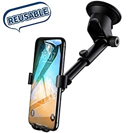 Car Phone Holder, Universal Dashboard Windscreen Phone Mount Stable Adjustable Car Cradle Mount with Strong Sticky Gel Pad for iPhone XR/ 6s Plus, Galaxy S9/S8/S7, Huawei mate20 pro -Black