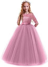 OBEEII Vestidos De Princesa Fiesta de la Boda de Las Niñas para Bordado Graduación Comunión Cumpleaños Paseo B