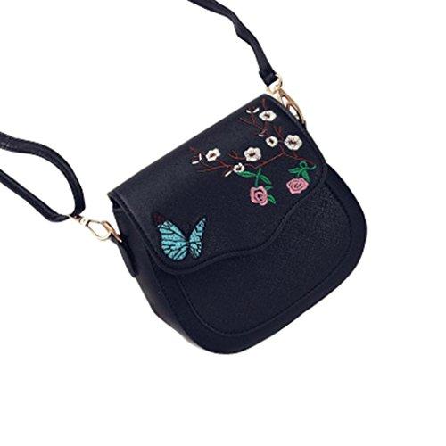 Farfalla fiore stampa borsetta, donne farfalla fiore stampa borsa borsa a tracolla tote Messenger pu borsa in pelle by Kangrunmy Nero