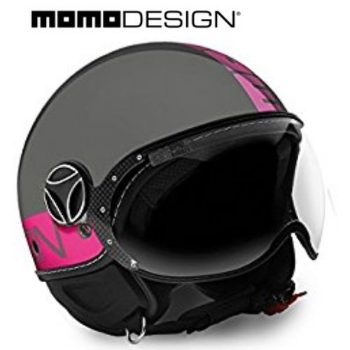 Helm Jet Momodesign Fighter Fluo, grau glänzend, Decal in Leucht-Pink, Größe M (Fighter Jet Helm)