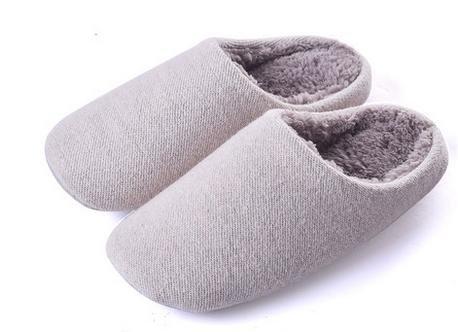 Automne et hiver Accueil chaussons coton intérieur de la maison à fond épais anti - pantoufles de dérapage female beige