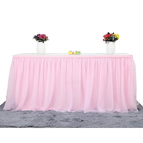 (ManiSha Handmade 2 Yards 3 Schichten Mesh Fluffy Tutu Tüll Tisch Rock für Party, Hochzeit, Geburtstagsfeier, Baby Dusche Dekoration (L 9Fuß * H 30 inch, Rosa))