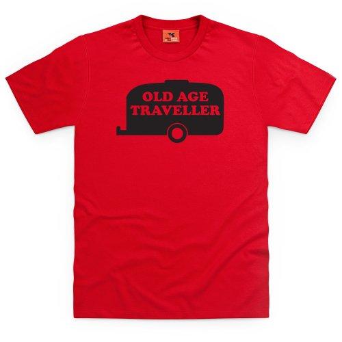 Old Age Traveller T-Shirt, Herren Rot