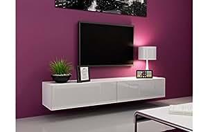 Meuble Tv Design Laqué Blanc - Varsovie Blanc 135