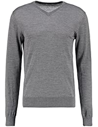 KIOMI Pullover Herren mit V-Ausschnitt – 100 % Merino Wolle – Strickpullover in Grau o. Blau – Herrenpullover aus Strick / Feinstrickpullover