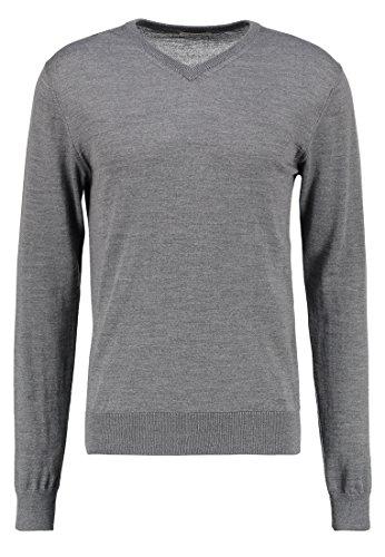 KIOMI Pullover Herren mit V-Ausschnitt – 100 % Merino Wolle – Strickpullover in Grau, 2XL (Langarm Rollkragen Lauren)