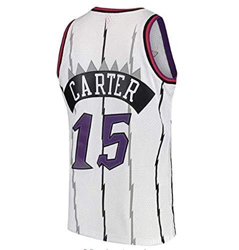 LLZYL Männer und Unisex Basketball Shorts T-Shirts Trikots Kleidung, NBA 15# Magic Team, Vince Carter, Coole atmungsaktive Stoff klassisch ärmellos,White,L:180cm/75~85kg Carters, Kleidung