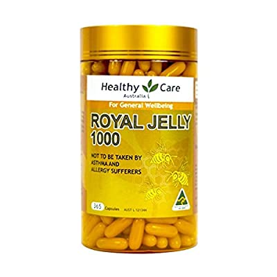 Healthy Care Royal Jelly 1000mg 365 Capsules 100% Pure Royal Jelly Immune System Booster & Supports Skin Health & Vitality, Made in Australia, with one Knot gift from Healthy Care