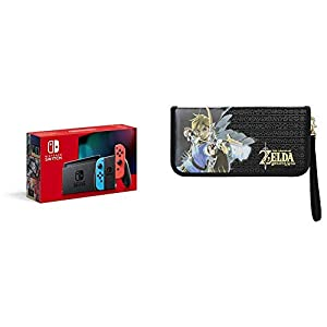 Nintendo Switch Konsole – Neon-Rot/Neon-Blau (2019 Edition) + PDP Nintendo Switch The Legend of Zelda Premium Reiseetui