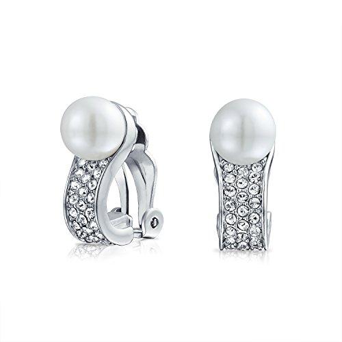 Braut Crystal Mode Weiß Simulierten Perle Huggie Ohrclips Ohrringe Für Damen Nicht Durchbohrt Ohr Messing