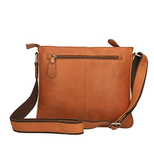 Chicca Borse Luxury Travel Aktentasche Pouch Kleine Schultertasche aus echtem Leder - 28x24x6 cm Bräunen