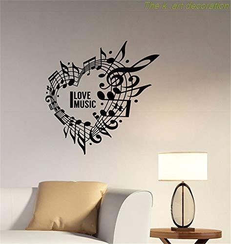Adesivo murale scritta amo la musica cuore applique da parete note di musica chiave di violino soggiorno camera dei ragazzi stanza della chitarra